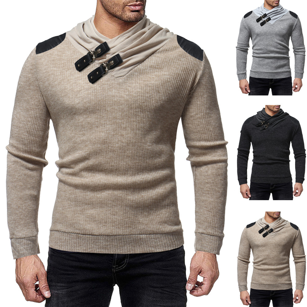 Sunfree Autumn Slim Solid Long Sleeve Sweater Hot Selling Fashion Style Cool Boy Winter Sweater Low Price Promotions 3L&45