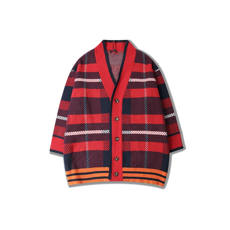Sweater Men Blusa Masculina Fashion Hip Hop Plaid Autumn Winter Oversized Cardigan Kpop ropa cardigan masculino N-neck Sweaters
