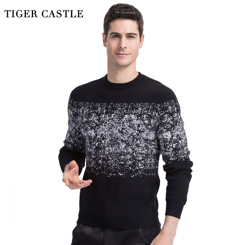 TIGER CASTLE 2018 New Arrival Mens Pullover Sweaters Casual Print Autumn Round Neck Male Sweater Slim Fit Quality Knitwear