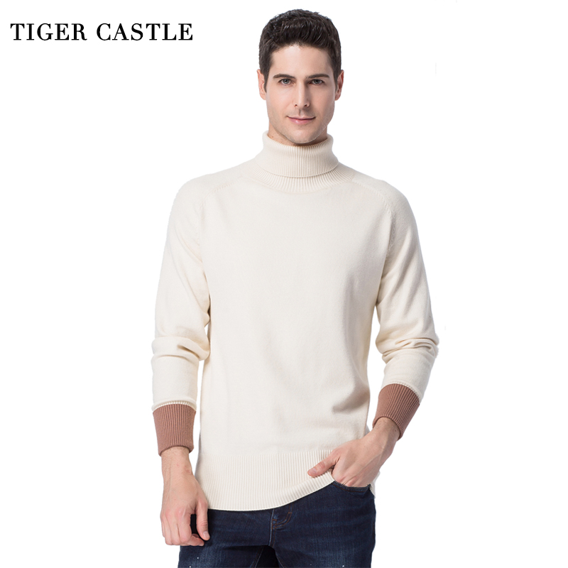 TIGER CASTLE 2018 Turtleneck Man Sweaters Long Sleeve Black White Knitted Male Pullover Sweater Brand Spring Autumn Men Knitwear
