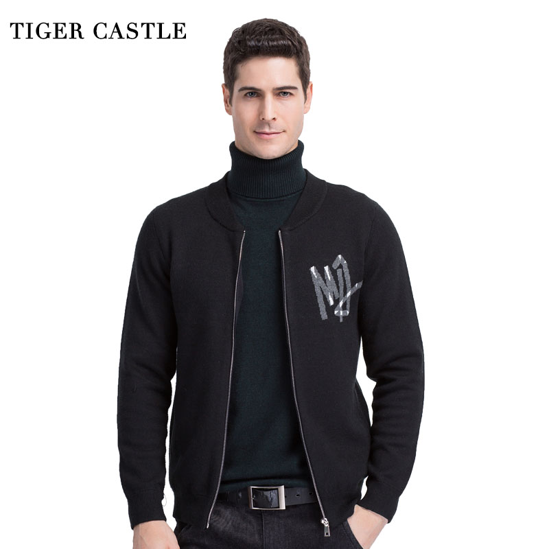 TIGER CASTLE V-Neck Mens Cardigan Sweater Casual Zipper Black Male Knitwear Fashion Knitted Men Quality Sweaters Brand Clothing