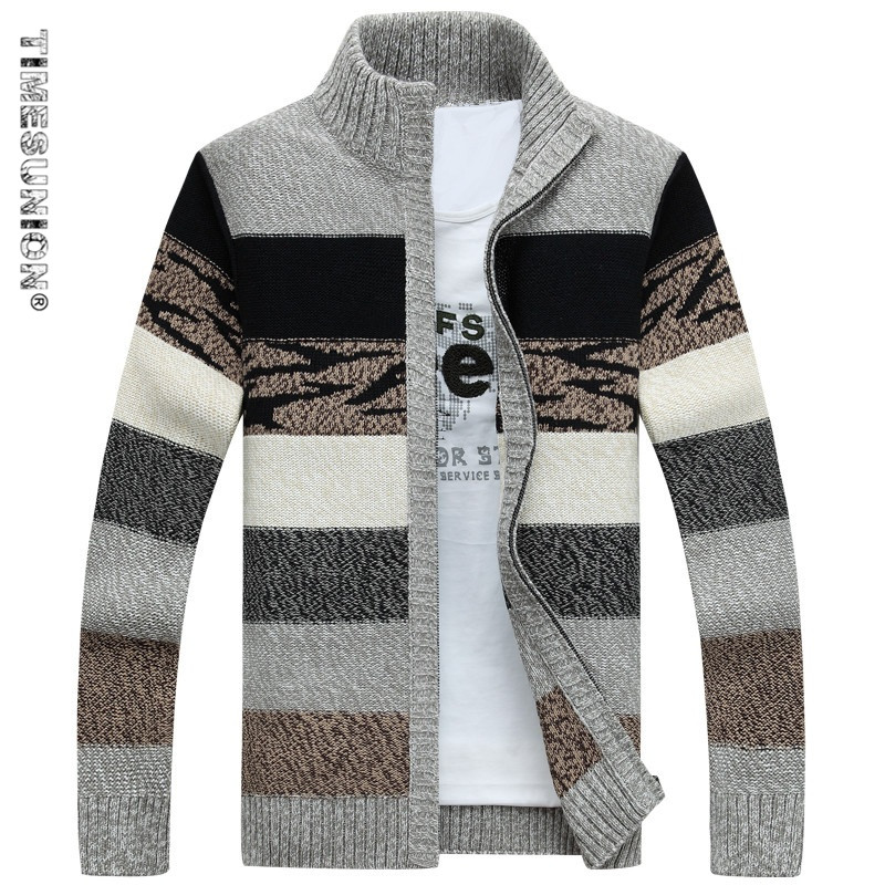 TIMESUNION Men's Knitted Sweaters Cardigans Collar Winter Wool Sweater Fashion Cardigans Male Sweaters Coat Brand Men's Clothing