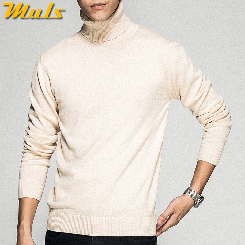 Turtleneck Men Sweaters Pullovers Cotton High Neck knitted Sweater Jumpers Autumn Winter Knitwear Male Red Balck Red Navy White