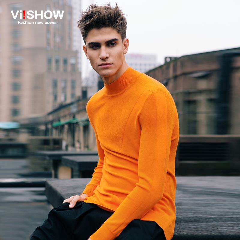 Viishow Brand Turtleneck Sweater Men Slim Sweater Fitness Knitted Sweater Pullover Men Clothes Pull Homme OverSize XXXL Z102353