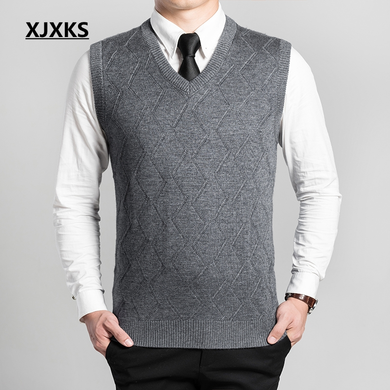 XJXKS New Autumn And Winter Cashmere V-neck Men's Vest Sleeveless Sweater Hedging Men Casual Knit Pullovers Pull Homme