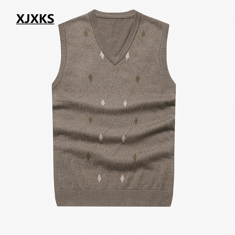 XJXKS New Casual Made China Men's Knitted Sweater Plus Size V-neck Cotton Fabrics Free Shipping Pullovers Sweater A-55