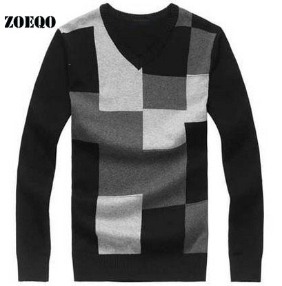 ZOEQO Mens casual v neck pullover sweaters men Knitwear jumpers Slim Casual Sweater man pullover Sweater Male Clothing 655