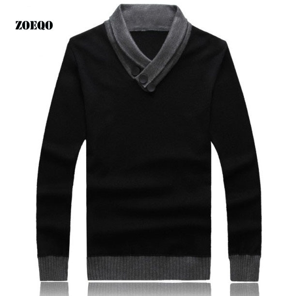 ZOEQO spring autumn V-Neck Men Pullover Brand Mens Jumper Sweater Slim Fit Man Sweaters Long Sleeve Men's Pullovers cashmere