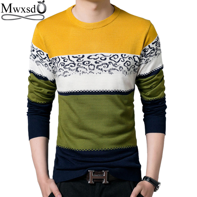 high quality Mwxsd brand autumn Men casual O neck Sweater men's slim fit pullover christmas sweater pull homme