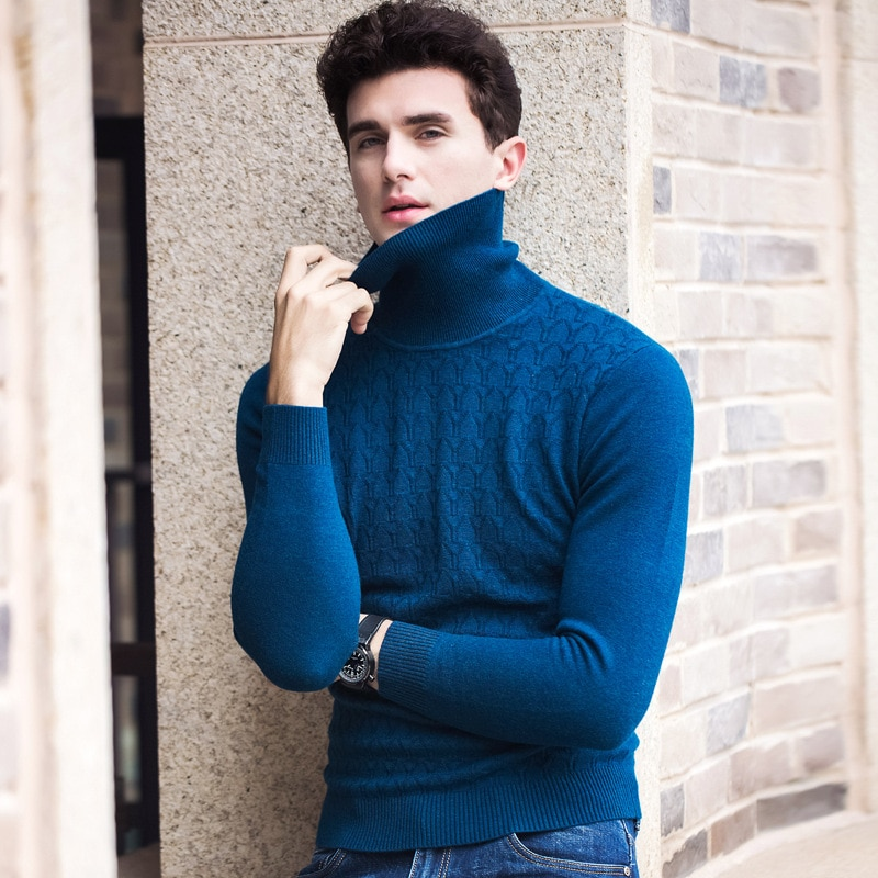 new arrival Autumn 100% Pure Wool Thick Sweater high quality mens Jacquard Bottoming Knitted Turtleneck Pullovers size SMLXL-3XL