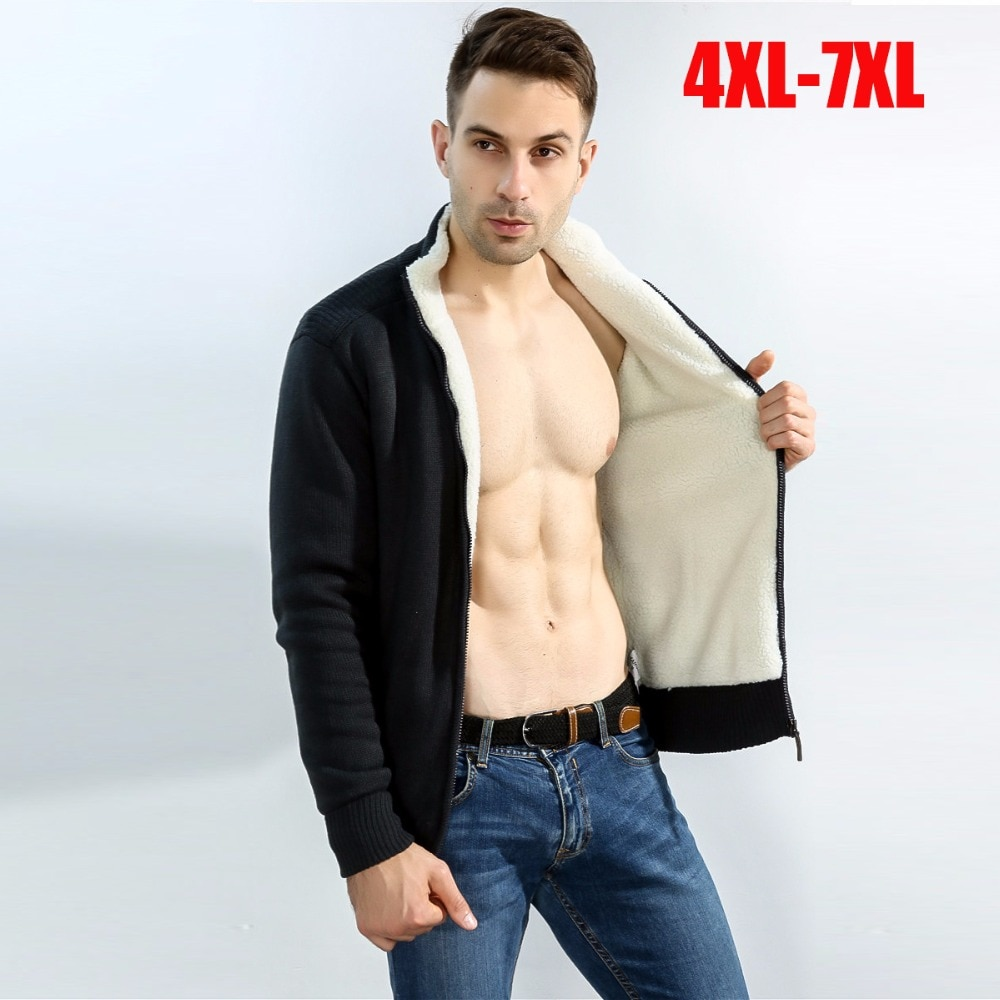 plus size 4XL-7XL men cardigan sweater coat winter thicken lambs inside wool liner zipper turtleneck Casual warm sweatercoat