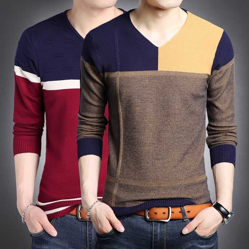 2017 NEW striped men pullover sweaters masculino male casual V-Neck christmas sweater knitwear plus size Cotton Shirt Male 3XL