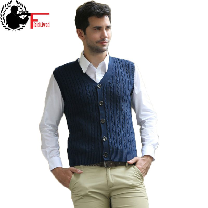2017 Spring Autumn Men Vest Sweaters 100% Cotton Cardigan Sleeveless Male Wool Knitted Single Breasted V-neck Men's Waistcoat