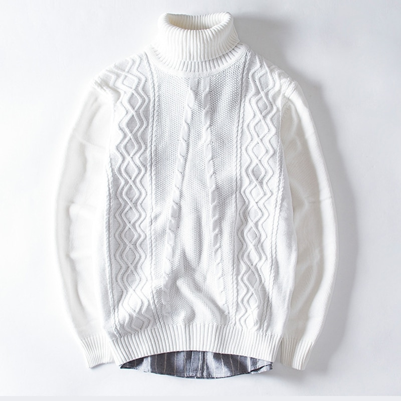 2018 Hot Sale Turtleneck Mens 100% Pure White Sweater Computer Kniteted Slim Wool Sweaters Pull Homme Warm Comfy Knitwear XXXL