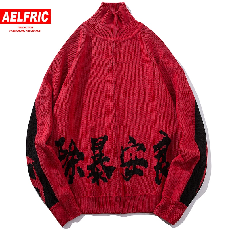 AELFRIC Chinese Letter Printing Men Turtleneck Sweaters Casual Pullover Sweater 2018 Fashion Hip Hop Long Sleeve Streetwear BF09