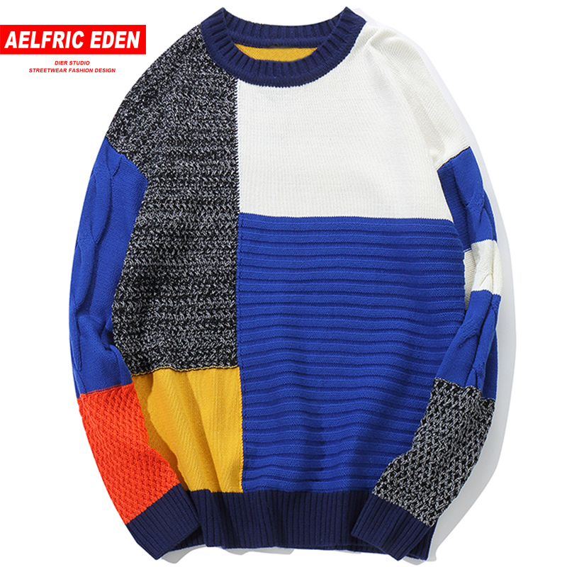 Aelfric Eden Color Patchwork Pullover Sweaters Mens Harajuku Casual Knit Sweaters Hip Hop Fashion Male Streetwear Knitwear KJ94