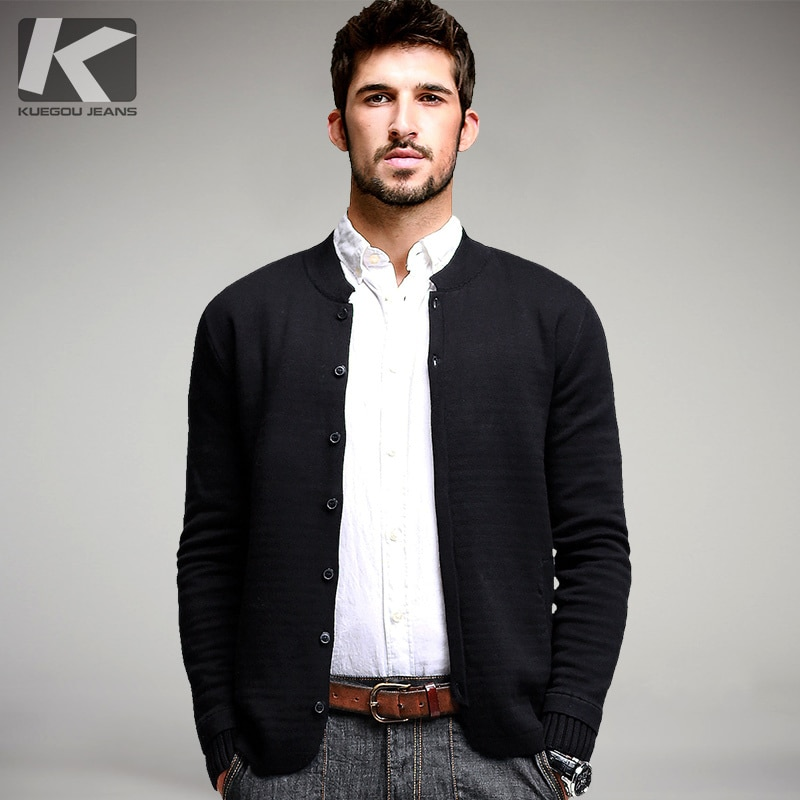 Autumn Mens Sweaters Male Winter Button Cardigan Man's Black Solid Knitwear Slim Fit Brand Clothing SweaterCoats 6680