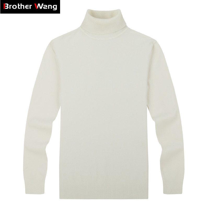 Brother Wang Brand Men's Casual Pullovers Sweater Classic Style 100%Cotton Slim Business Turtleneck Sweater Male black white