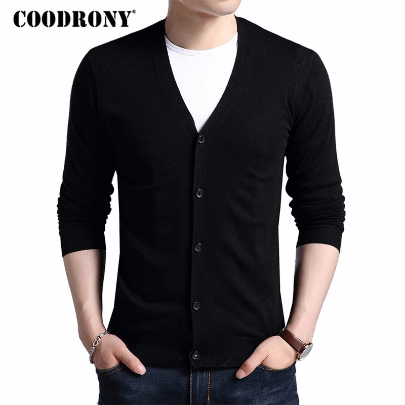 COODRONY Cardigan Men 2018 Autumn Winter Soft Warm Cashmere Wool Sweater Men Pure Color Classic Casual V-Neck Cardigans Top 7402