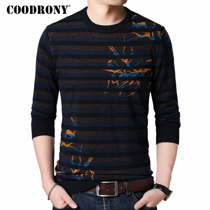 COODRONY Mens Sweaters 2018 Autumn Winter New Arrival Wool Pullover Men Knitted Cashmere Sweater Men Casual Striped Jumper 8230