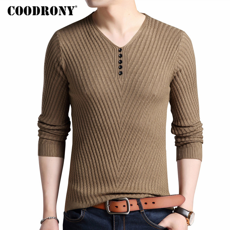 COODRONY Sweater Men Clothes 2018 Autumn Winter Thick Warm Sweaters Casual Button V-Neck Pullover Men Slim Fit Jersey Hombre 118