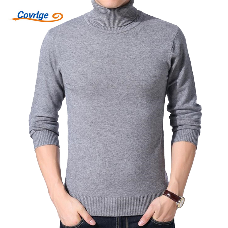 Covrlge Men's Turtleneck Sweater 2017 Winter Men Solid Thick Knitted Sweaters Plus Size High Neck Pullover Warm Clothes MZL031
