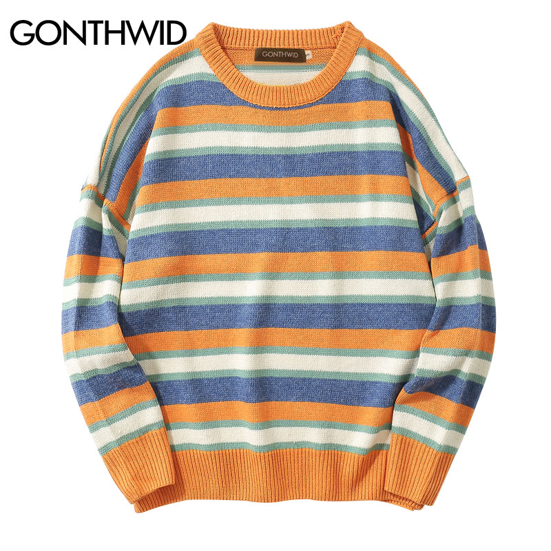 GONTHWID 2018 Autumn Striped Sweaters Men/Women Casual Pullovers Long Sleeve Sweater Male Hip Hop Fashion Knitting Sweaters