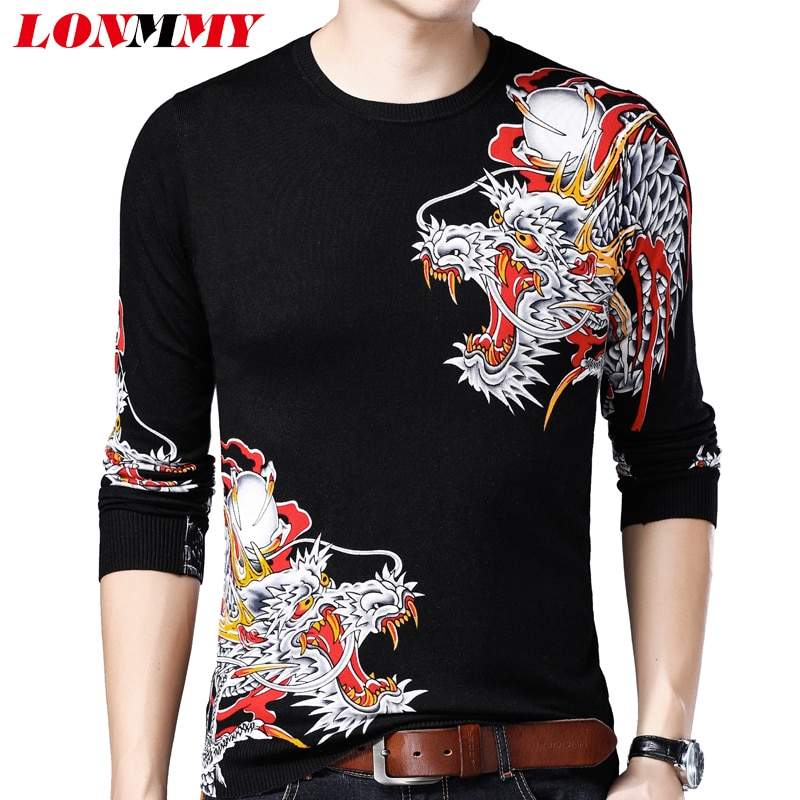LONMMY Sweater men clothes Dragon Long sleeve blusa masculina inverno pullover mens sweater sueter hombre Chinese style New