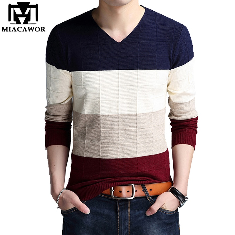 MIACAWOR New Autumn Thin Sweater Casual Pullovers Men Slim Fit Knitted Sweater V-Neck Patchwork Pull Homme Plus Size Y064