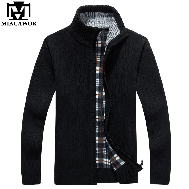 MIACAWOR New Casual Men Cardigan Autumn Winter Fleece Warm Sweaters Zipper Sweatercoat Knitwear Pull Homme Men Clothes Y084