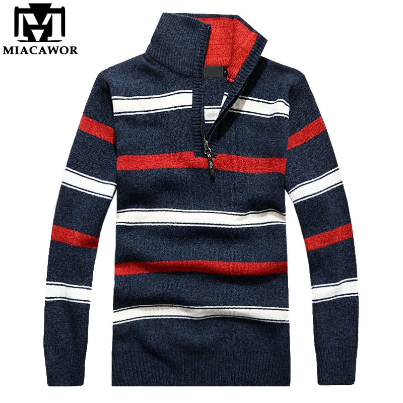 MIACAWOR New High Quality Wool Sweaters Men Autumn Winter Pullover Men Fashion Striped Knitwear Sweater Pull Homme Y077