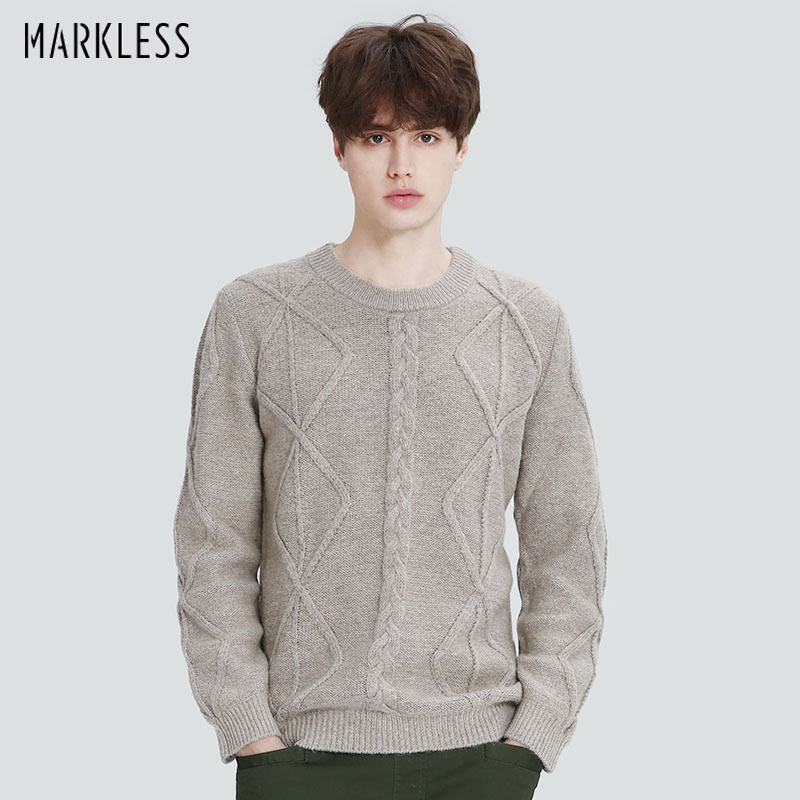 Markless Winter Thick Sweater Men O-neck Warm Knitted Wool Sweater Fashion Casual sueter hombre Pullover for Men MSA7709M