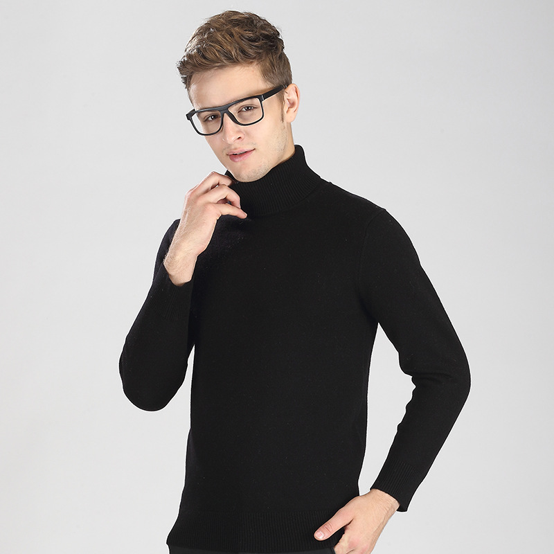 Men's autumn winter new style men's casual high neck pure sweater youth slim sweater bottoms