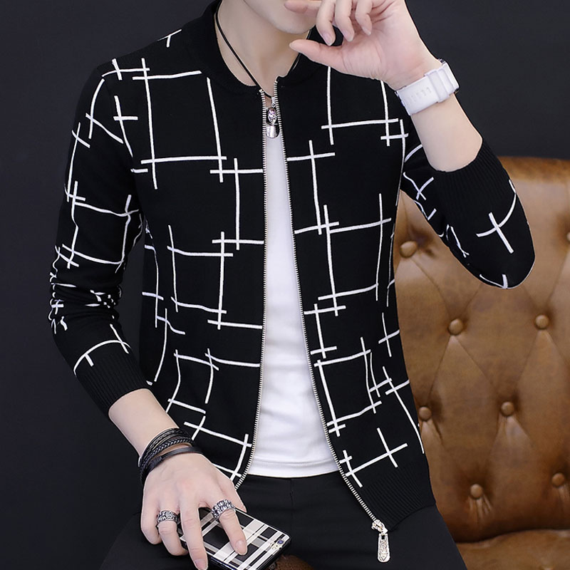 Men sweater cardigan zipper 2018 autumn and winter Korean style male sweater slim o-neck trend Knitted outerwear teenager boy
