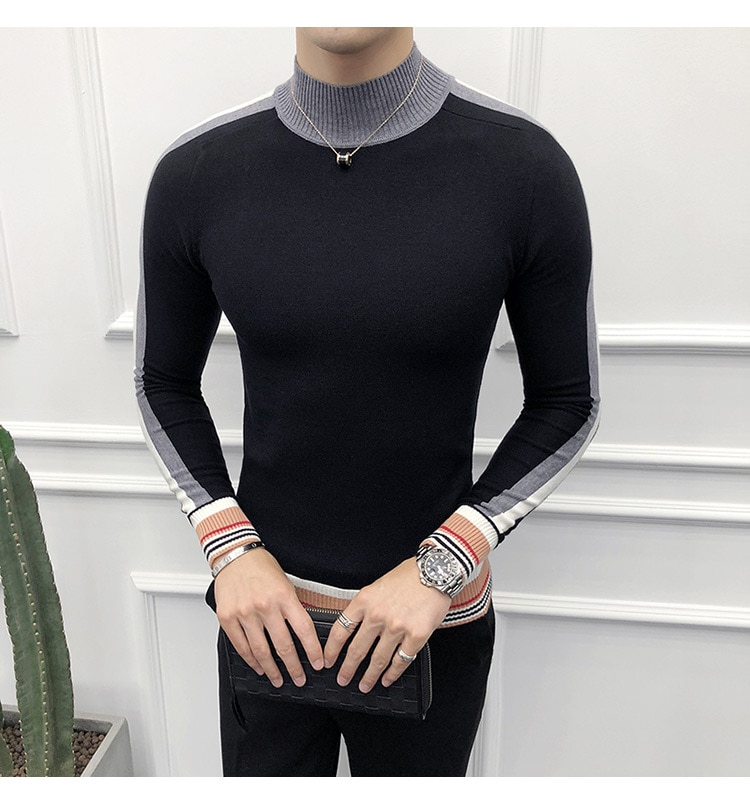 Mens Pullover High Quality Turtleneck Sweater Mens Fall Fashion Korean Sweaters Slim Fit Grey Social Sweaters Pull Luxe Homme