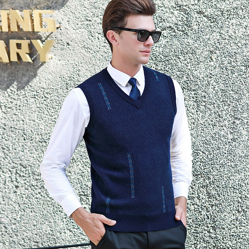 New Autumn Winter Men Pure Wool Sweater Casual Computer Knitted V-neck Vest, Sleeveless fashion high quality size S M L XL 2XL