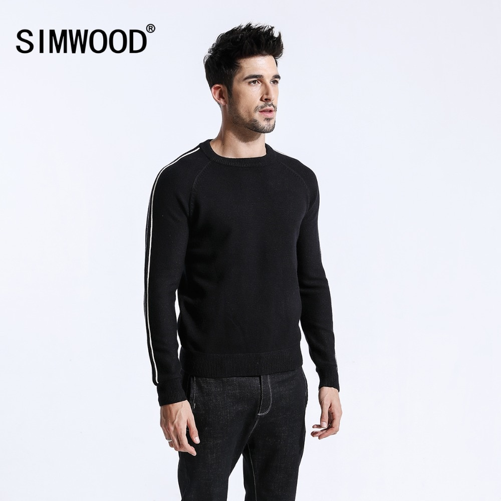 SIMWOOD 2018 Autumn Winter New Sweater Men Contrast Color Pullover Male Warm O-neck Fashion Knitted Design Clothes 180462