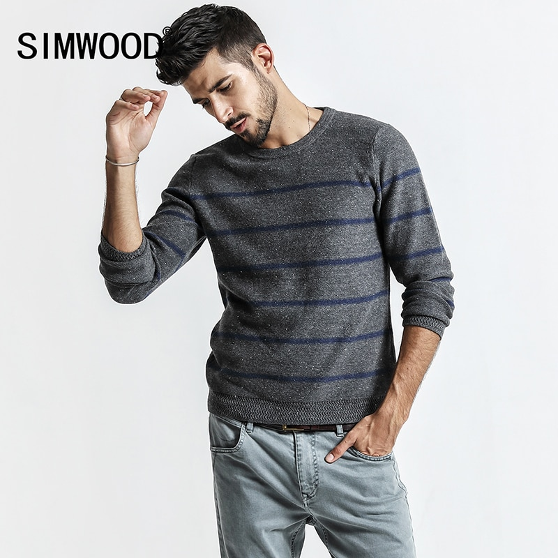 SIMWOOD Sweater Men 2018 autumn New Pull Homme Mens Knitted Pullover White Dot Striped O-neck Sweater Male Plus Size MT017009