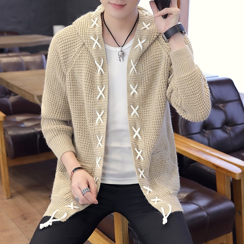 Varsanol Cardigan Sweaters Men Fashion Winter Full Sleeves Sweater Cotton Solid Tops With Hat Casual Sweater For Men New Arrival