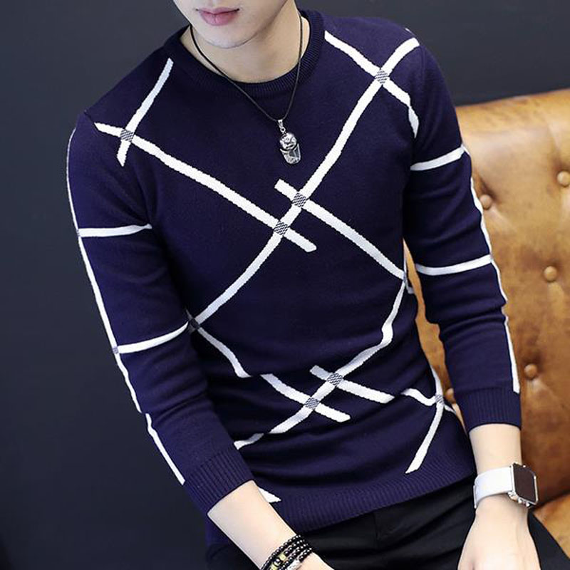Men slim sweater 2018 autumn and winter Korean style male sweater student o-neck thermal casual stripe knitted tops teenage boy
