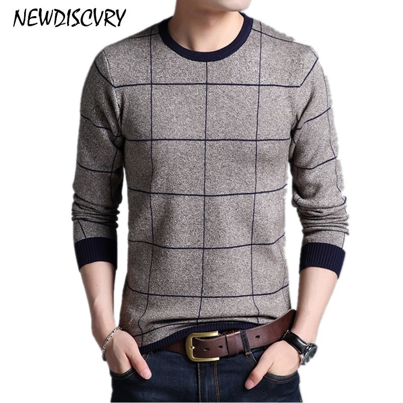NEWDISCVRY Thick Warm Sweater Men 2018 Autumn Winter O Neck Slim Men's Knitted Pullover Cotton Man Knitwear Pure Male Pull Homme