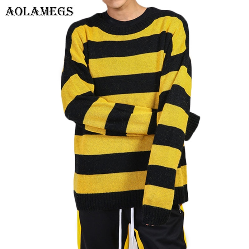 Aolamegs Sweater Men Patchwork Striped Hit Color Mens Pullover High Street Sweaters Fashion Knitted Male Sweater Autumn