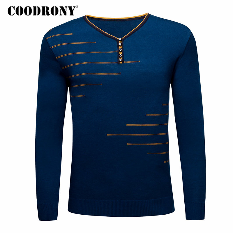 COODRONY Sweater Men Casual Long Sleeve Shirt Button V-neck Pullover Men Clothing 2018 Autumn Winter Mens Cashmere Sweaters 8181