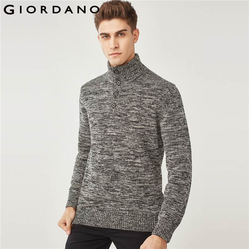 Giordano Men Sweater Men Pullovers Cable-knit Jacquard Design Mockneck Sweater For Mens Ribbed Warm Chompas Hombre