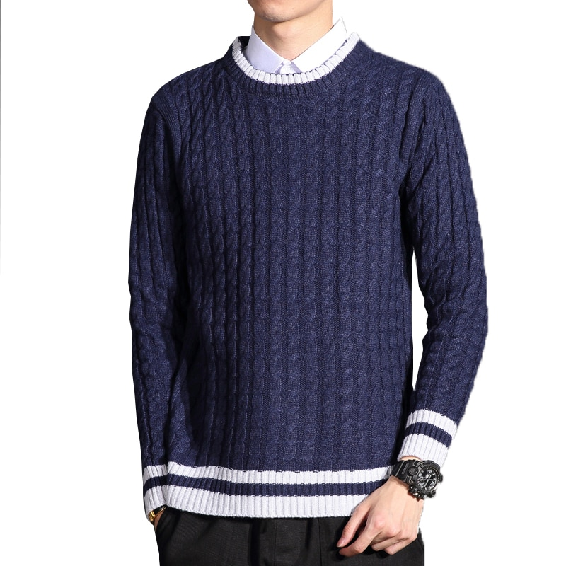 Brand Sweater Men O-Neck striped Slim Fit Knitting Mens Sweaters Pullover Male 2018 Autumn Casual Tops man jersey clothes 6XL