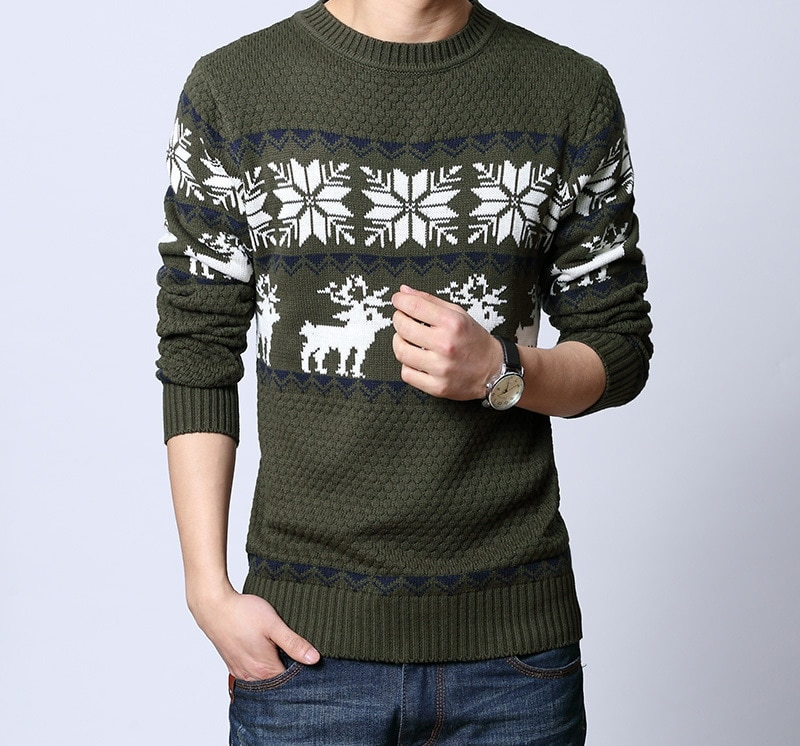 New 2017 spring and autumn new Korean deer patchwork wool sweater round neck long sleeve sweater men pullovers