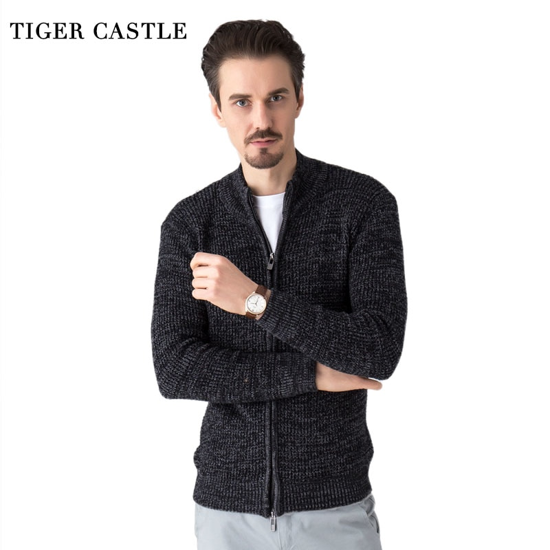 TIGER CASTLE Men Fashion Wool Sweater Male Knitted Cardigan Fashion Mens Sweaters Spring Autumn Leisure Sweater for Men